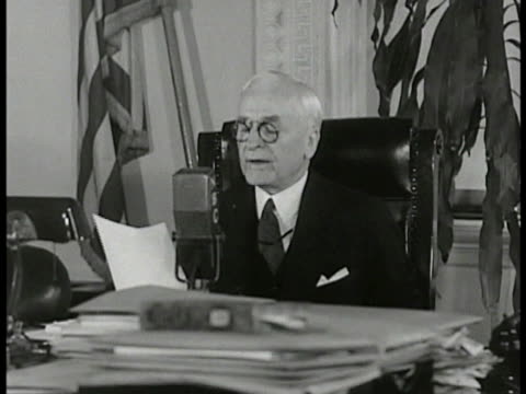 sign 'sec of state' reprisal cordell hull speaking at desk ' we want security progress amp prosperity for ourselves amp for all nations' cu sign... - cordell hull stock videos and b-roll footage