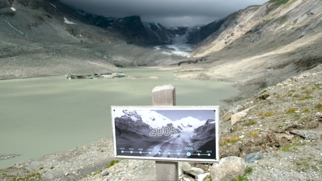 sign shows where the pasterze glacier reached in 2010 as the glacier in its current state is seen far behind on august 13, 2019 near heiligenblut am... - human tongue stock videos & royalty-free footage