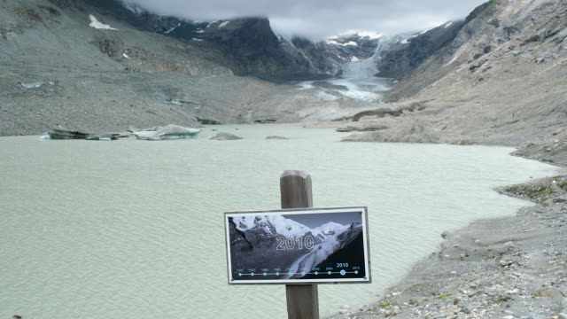 A sign shows where the Pasterze glacier reached in 2010 as the glacier in its current state is seen far behind on August 13 2019 near Heiligenblut am...