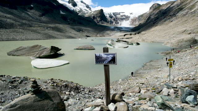 A sign shows where the Pasterze glacier reached in 2010 as the glacier in its current state is seen far behind on August 14 2019 near Heiligenblut am...