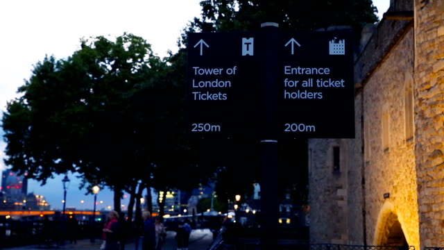 Sign street that leads to Tower of London. Thames embankment. London.