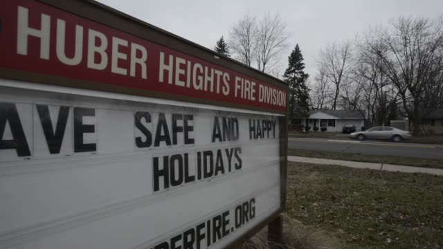 A sign that reads City of Huber Heights Fire Division Headquarters is displayed on the fire department in Huber Heights Ohio US Shots of the Huber...
