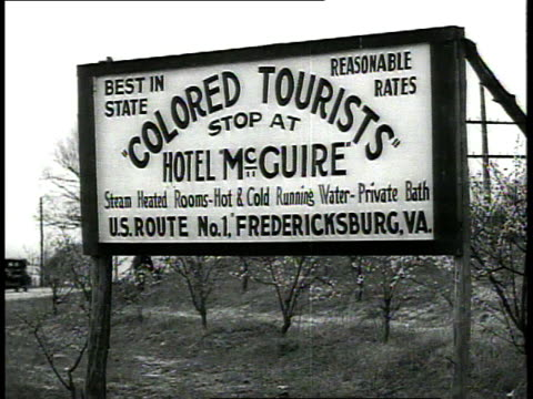 sign that reads colored tourists stop at hotel mcguire / richmond virginia usa - segregation stock videos & royalty-free footage