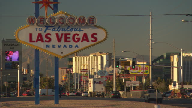 A sign welcomes visitors to Las Vegas, Nevada.