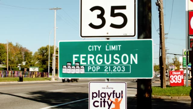 Sign welcoming people to Ferguson Missouri where police and protesters clashed over a number of days after the shooting death of unarmed teenager...