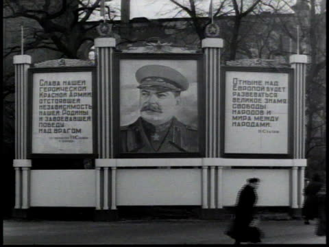 sign with a picture of joseph stalin / berlin, germany - 1948 stock videos & royalty-free footage