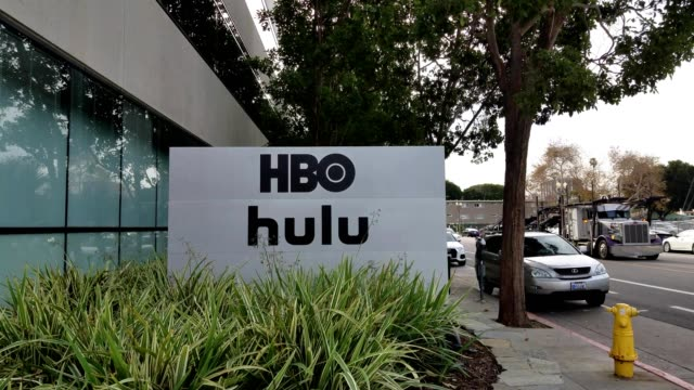 Sign with logos at office of Home Box Office and streaming service Hulu in the Silicon Beach neighborhood of Santa Monica California December 10 2018