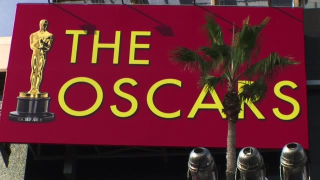 sign with palm trees academy awards on march 07, 2010 in los angeles, california - academy of motion picture arts and sciences stock videos & royalty-free footage