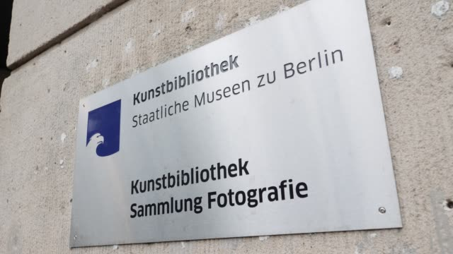 Sign with the inscription Kunstbibliothek Staatliche Museen zu Berlin Sammlung Fotografie at the entrance of the museum of photography where the...