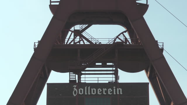 sign 'Zollverein' at the winding tower of shaft 12
