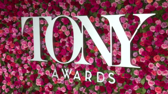 atmosphere signage at 2018 tony awards red carpet at radio city music hall on june 10 2018 in new york city - annual tony awards stock videos & royalty-free footage