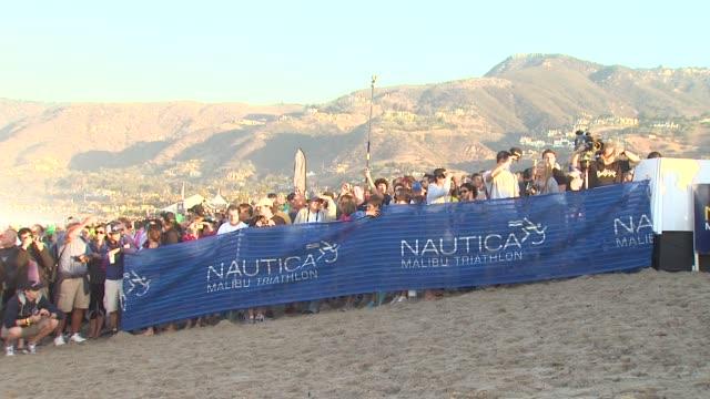 signage at 26th annual nautica malibu triathlon on 9/16/12 in malibu ca - nautica malibu triathlon stock videos & royalty-free footage
