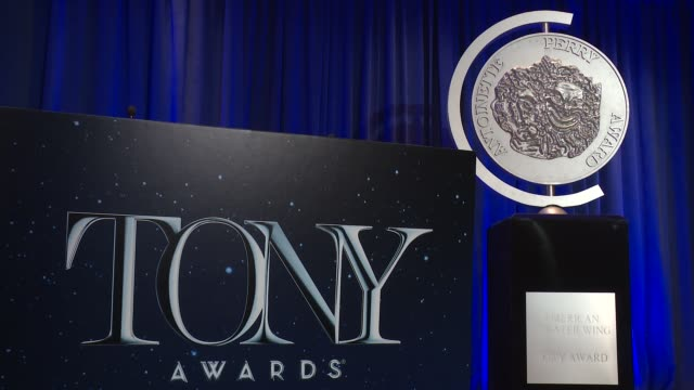 vídeos y material grabado en eventos de stock de atmosphere signage at 71st annual tony awards nominations announcement at the oenslager gallery at the ny public library for the performin on may 02... - premios tony