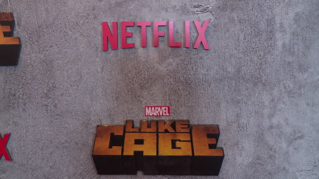 atmosphere – signage at a netflix original series marvel's luke cage new york premiere at the edison ballroom on june 21 2018 in new york city - edison ballroom stock videos & royalty-free footage