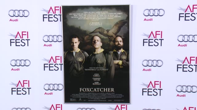 atmosphere signage at afi fest 2014 presented by audi closing night gala premiere of foxcatcher at dolby theatre on november 13 2014 in hollywood... - ドルビー・シアター点の映像素材/bロール