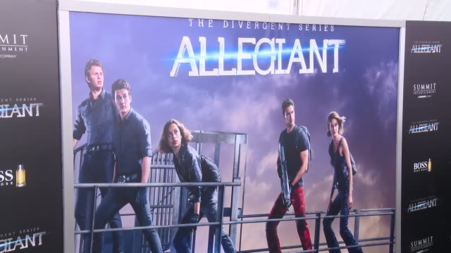 atmosphere signage at allegiant new york premiere at amc loews lincoln square 13 theater on march 14 2016 in new york city - amc loews stock videos and b-roll footage