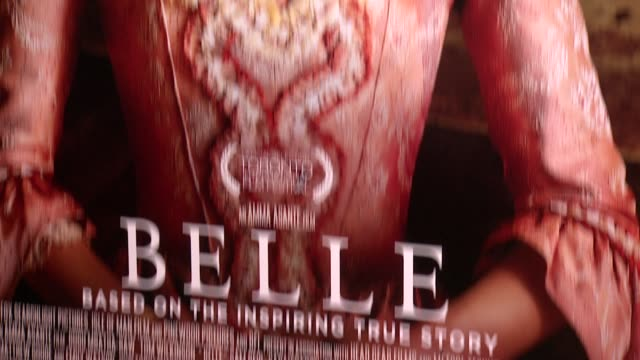 """atmosphere signage at """"belle"""" new york premiere arrivals at the paris theater on march 13 2014 in new york city - paris theater manhattan stock videos and b-roll footage"""
