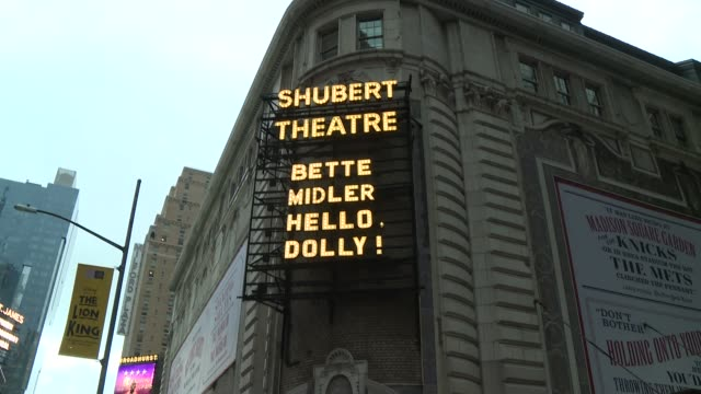 vídeos y material grabado en eventos de stock de atmosphere signage at bette midler returns to her tony awardwinning role in hello dolly on broadway at shubert theatre on july 17 2018 in new york... - premios tony