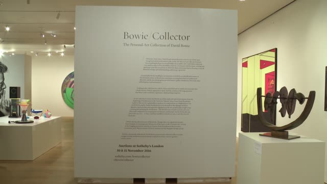 atmosphere signage at bowie/collector media preview at sotheby's on september 26 2016 in new york city - サザビーズ点の映像素材/bロール