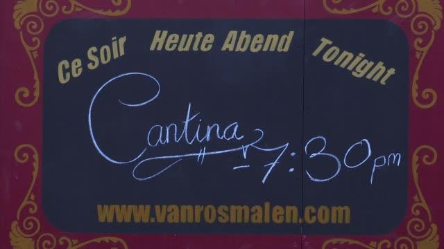 signage at cantina photocall on may 9, 2012 in london, england - burleskstil bildbanksvideor och videomaterial från bakom kulisserna
