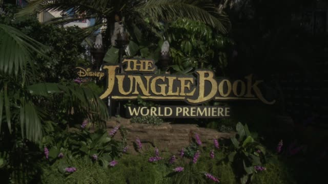 """signage at disney's """"the jungle book"""" los angeles premiere at the el capitan theatre on april 04, 2016 in hollywood, california. - el capitan theatre stock videos & royalty-free footage"""