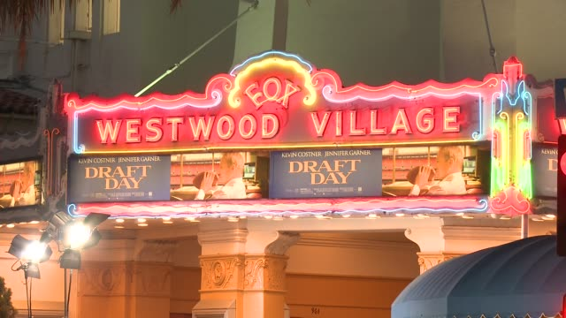 atmosphere signage at draft day los angeles premiere at regency village theatre on april 07 2014 in westwood california - regency village theater stock videos and b-roll footage