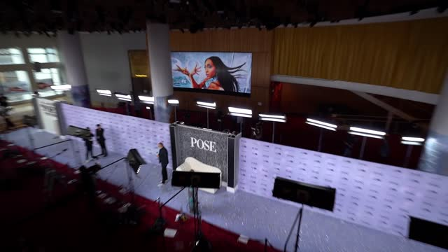 """signage at fx's """"pose"""" season 3 new york premiere at jazz at lincoln center on april 29, 2021 in new york city. - premiere event stock videos & royalty-free footage"""
