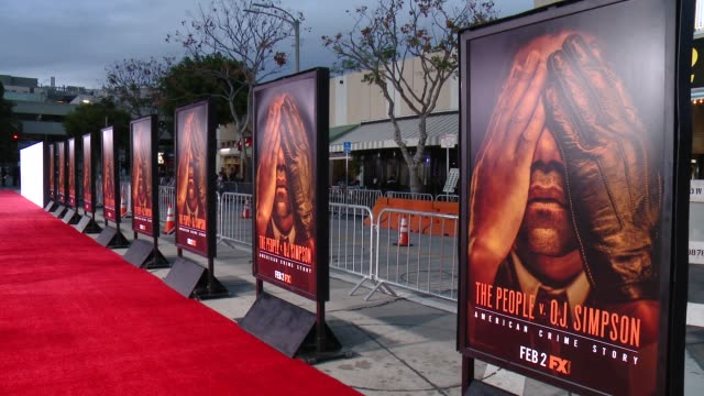 atmosphere signage at fx's the people v oj simpson american crime story premiere at westwood village theatre on january 27 2016 in westwood california - westwood village stock-videos und b-roll-filmmaterial