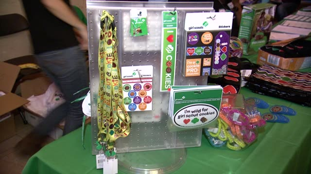 atmosphere signage at girl scouts at girl scouts kicks off national girl scout cookie weekend at grand central terminal on in new york city - biscuit stock videos & royalty-free footage