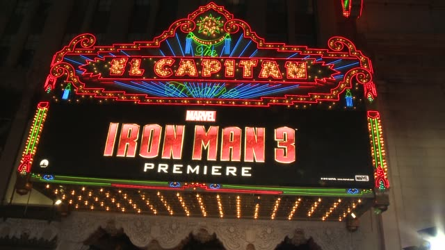 signage at iron man 3 world premiere 4/24/2013 in hollywood, ca. - première stock-videos und b-roll-filmmaterial