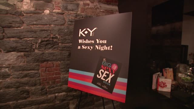 signage at ky brand celebrates the launch of the big fun sexy sex book with coauthors lisa rinna and dr ian kerner at the museum of sex on in new... - lisa rinna stock videos and b-roll footage