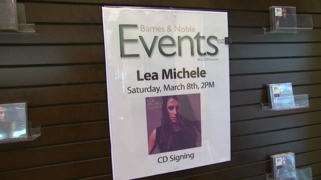 """signage at lea michele signs copies of her debut album """"louder"""" at barnes & noble bookstore at the grove on march 08, 2014 in los angeles, california. - the grove los angeles stock videos & royalty-free footage"""