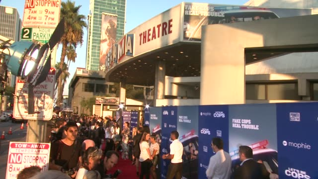 atmosphere signage at let's be cops los angeles premiere at arclight cinemas cinerama dome on august 07 2014 in hollywood california - cinerama dome hollywood stock videos & royalty-free footage