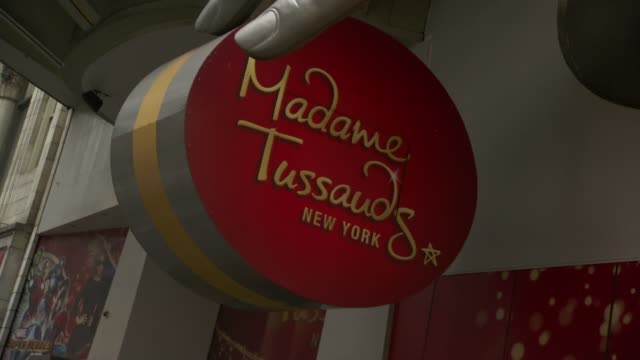 atmosphere signage at madame tussauds unveils four wax figures of whitney houston at madame tussauds on february 07 2013 in new york new york - madame tussauds stock videos & royalty-free footage