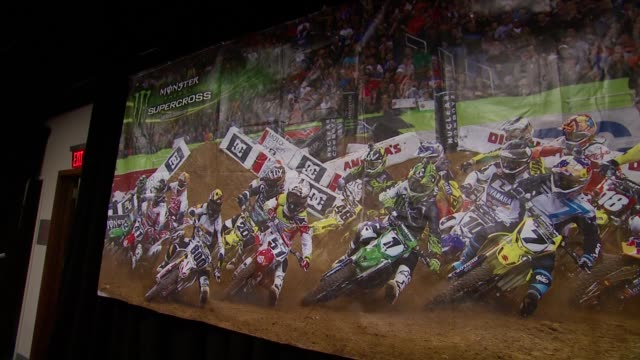 atmosphere signage at monster energy supercross world championship race at metlife stadium on april 26 2014 in east rutherford new jersey - world championship stock videos & royalty-free footage