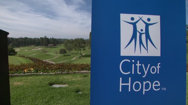 vídeos de stock, filmes e b-roll de signage at northern trust open selects city of hope as official charity atmosphere signage at northern trust open selects at riviera country club on... - evento da associação de golfistas profissionais