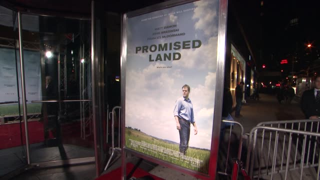 signage at promised land new york premiere presented by focus features at amc loews lincoln square 13 theater on december 04 2012 in new york new york - amc loews stock videos and b-roll footage