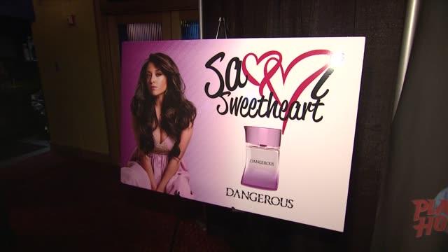 signage at Samantha 'Sammi Sweetheart' Giancola Visits Planet Hollywood Promoting Her DANGEROUS Fragrance New York NY United States