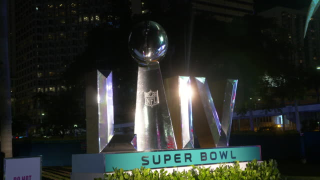 atmosphere signage at super bowl live fan fest at bayfront park on january 28 2020 in miami florida - super bowl stock videos & royalty-free footage