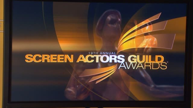 signage at the 19th annual screen actors guild award nominations atmosphere signage at the 19th annual screen acto at pacific design center on... - pacific design center stock videos and b-roll footage