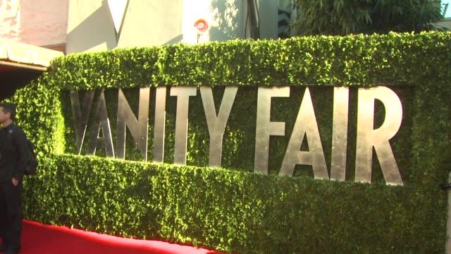 signage at the 2011 vanity fair oscar party arrivals at hollywood ca. - vanity fair oscar party点の映像素材/bロール