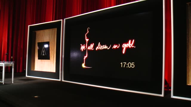 atmosphere signage at the 88th annual academy awards nominations at the academy of motion picture arts and sciences on january 14 2016 in los angeles... - 映画芸術科学協会点の映像素材/bロール