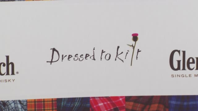 signage at the 8th annual 'dressed to kilt' charity fashion show at new york ny - dressed to kilt stock videos & royalty-free footage