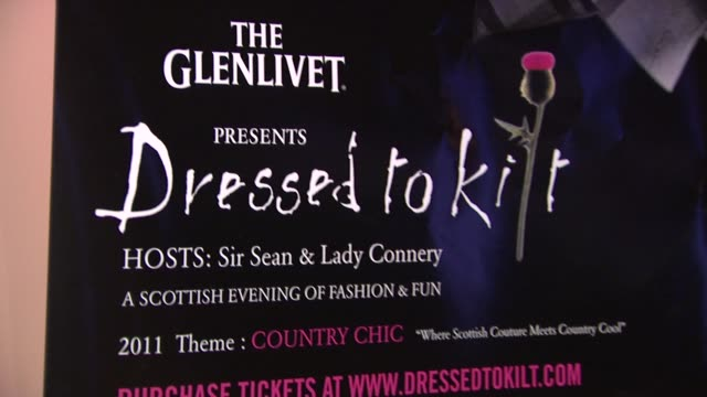 signage at the 9th annual dressed to kilt charity fashion show at new york ny. - kilt stock videos & royalty-free footage