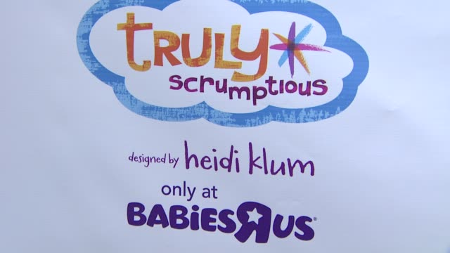 atmosphere signage at the babies r us throws a #trulyscrumptious operation shower event hosted by heidi klum at the globe theatre at universal... - heidi klum stock videos and b-roll footage
