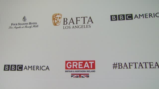 vídeos de stock, filmes e b-roll de atmosphere signage at the bafta los angeles awards season tea party at four seasons hotel los angeles at beverly hills on january 09 2016 in los... - tea party