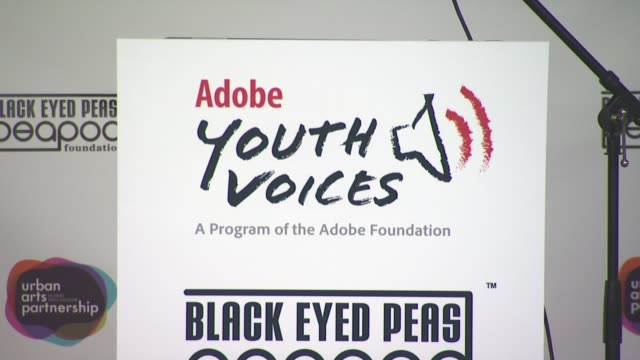 signage at the black eyed peas at the peapod adobe youth voices academy launch at urban arts partnership in new york city april 19th at new york ny - adobe material stock videos and b-roll footage