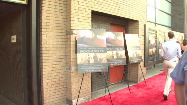 signage at the 'broken english' new york premiere at landmark sunshine cinema in new york, new york on june 18, 2007. - ランドマークサンシャインシアター点の映像素材/bロール