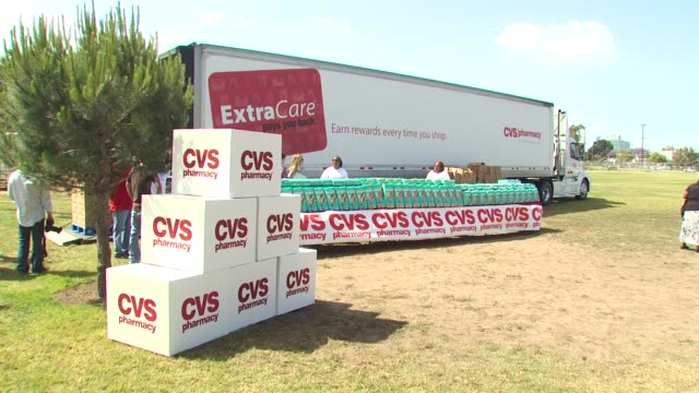 signage at the cvs/pharmacy 's biggest playdate' at los angeles ca. - cvs caremark stock videos & royalty-free footage