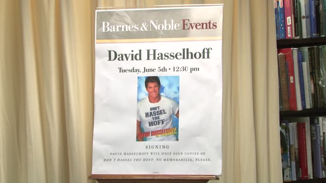 signage at the david hasselhoff book signing for 'don't hassel the hoff' at barnes noble bookstore in new york new york on june 5 2007 - barnes & noble stock videos and b-roll footage
